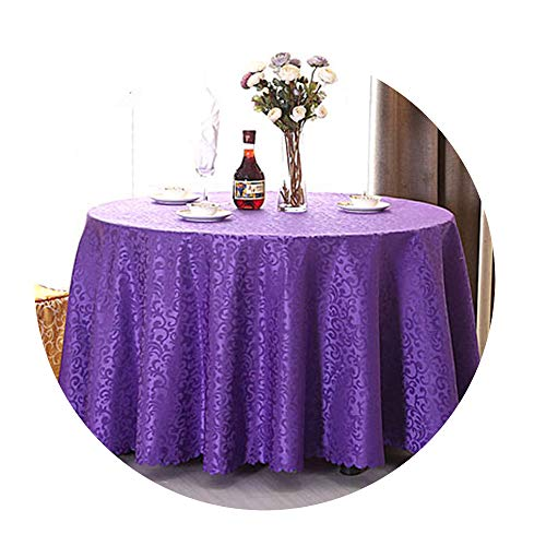 COOCOl Great 1Pc Multi Size White Polyester Hotel Dinner Table Cloth Round Washable Gold Crocheted Floral Tablecloth,Purple,Square 120X120Cm -