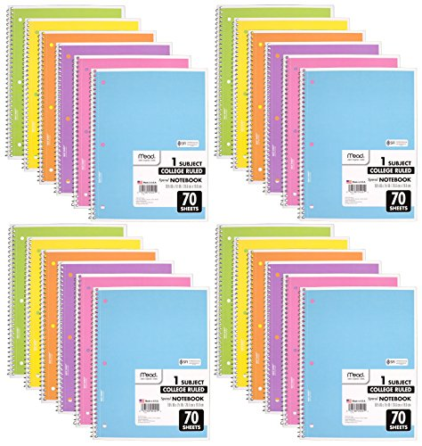 Mead Spiral Notebook, 24 Pack of 1-Subject College Ruled Spiral Bound Notebooks, Pastel Color Cute school Notebooks 70 Pages