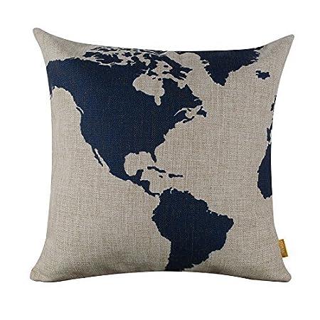 Hidoon 45cmx45cm 18 dark blue nice world map cushion covers pillow hidoonreg 45cmx45cm 18quot dark blue nice world map cushion covers gumiabroncs Images