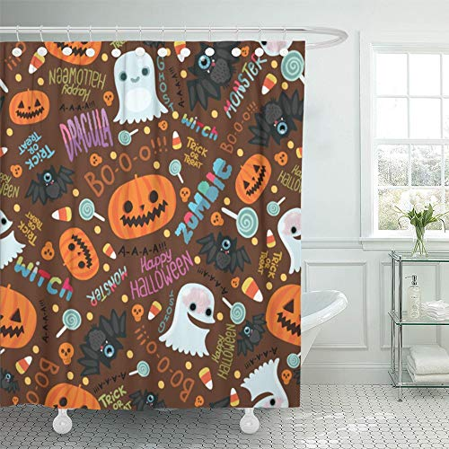 Emvency Decorative Shower Curtain Orange Candy Happy Halloween Cute Corn Zombie Abstract Autumn Bat Brain Cartoon 72