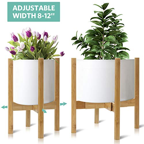 Roysili Plant Stand Modern Plant Holder, Adjustable Indoor Potted Plant Stand, Bamboo Wood Mid Century Plant Stand for Flower Pot