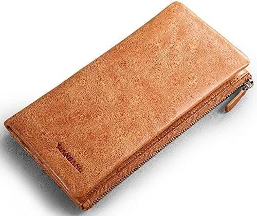 Genuine Cowhide Leather Handbag Organizer Card Case Zipper Long Bifold Wallet