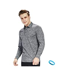 LIFINAIS Men's Long-Sleeve T Shirt dri fit Golf Polo Shirts Athletic Moisture Wicking