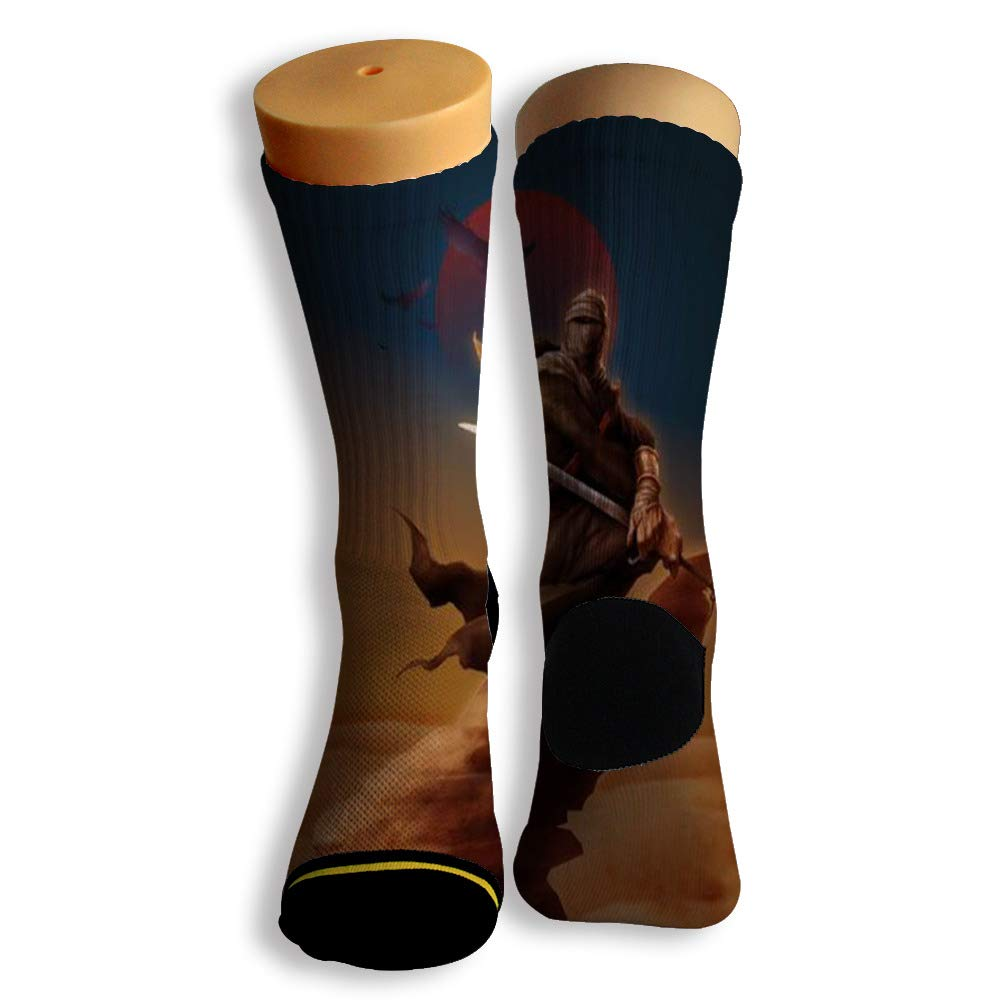 Basketball Soccer Baseball Socks by Potooy Ninja Graffiti 3D Print Cushion Athletic Crew Socks for Men Women