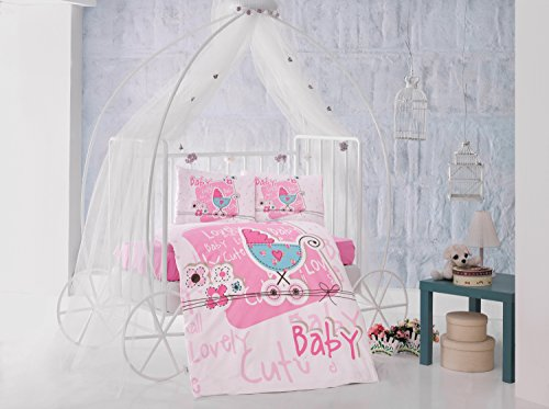 Lovely baby Pink Baby Cot Bed Duvet Cover Set, 100% Cotton Soft and Healthy 4-Pieces Bedding Set by TI Home
