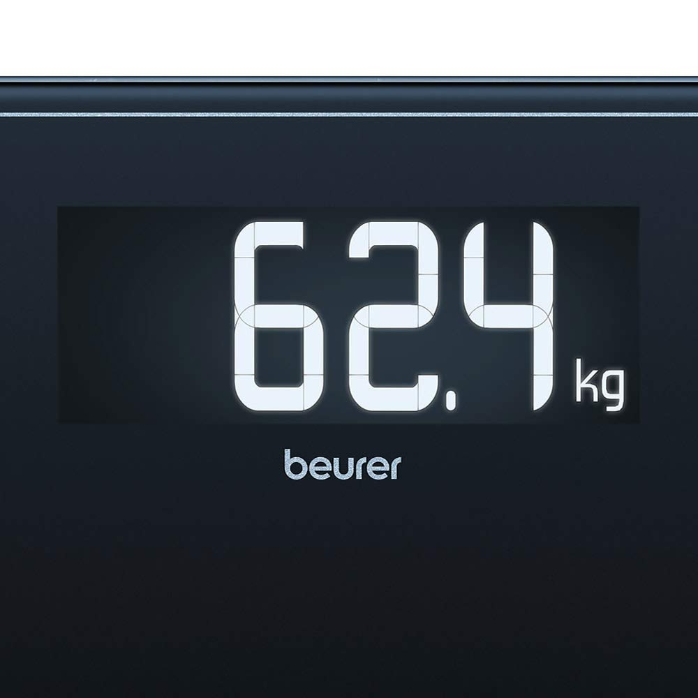 stylischem Schwarz-Display im XXL-Format und Tragkraft bis 200 kg Beurer GS 410 black Signature Line Glas-//Personenwaage mit extra gro/ßer Trittfl/äche aus Sicherheitsglas