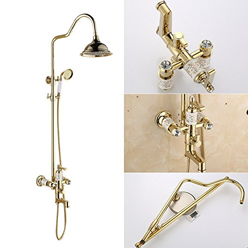 WVXBath European style golden shower set, full copper shower faucet