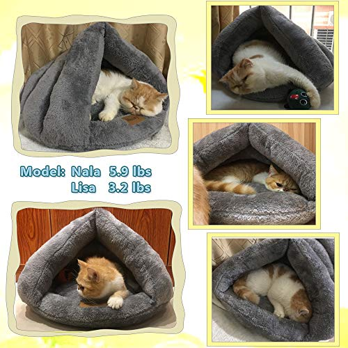 Hesiry Cat Cave Bed Small Dog Tent House for Indoor and Outdoor with Cozy Cushion, Machine Washable Small Animal Beds with Triangular Entrance
