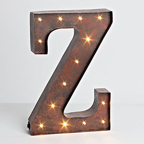 The Gerson Company Z LED Decorative Lighted Metal Letter with Rustic Brown Finish and Timer Function by The Gerson Company