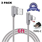 USB 90 Degree Type C Cable, VPR Right Angle USB to Micro USB Fast Charger Cord Nylon Braided for Samsung Galaxy S8/ S8+ Plus, Note 8, Z981, LG G6 G5, Nintendo Switch, Nexus 6P 5X (Grey3Pack6ft) For Sale