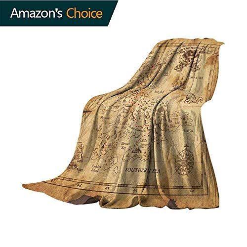Island Map Travel Blanket,Super Detailed Treasure Map Grungy Rustic Pirates Gold Secret Sea History Theme Microfiber All Season Blanket for Bed or Couch Multicolor,35