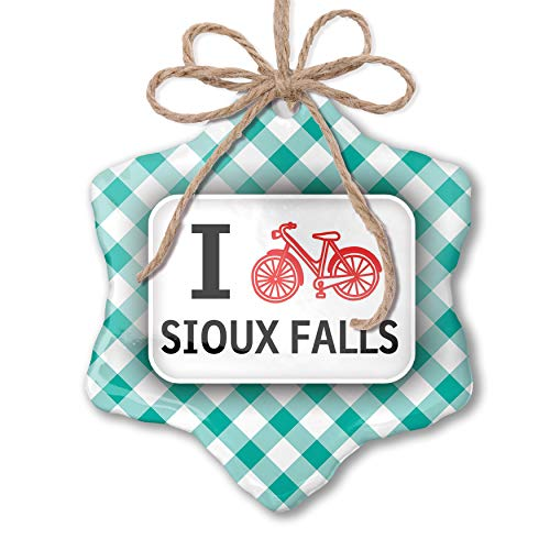 NEONBLOND Christmas Ornament I Love Cycling City Sioux Falls Pastel Mint Green Plaid ()