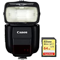 Canon 430EX III-RT EOS Speedlite Flash with Wireless Capability (0585C006) with 64GB Extreme SDXC Memory UHS-I Card
