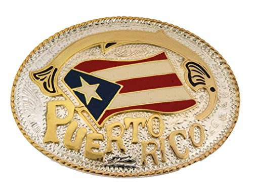 Puerto Rico Gold Silver Oval Rican Flag Bandera Puertorriquena New Belt - Belt Buckle New Flag