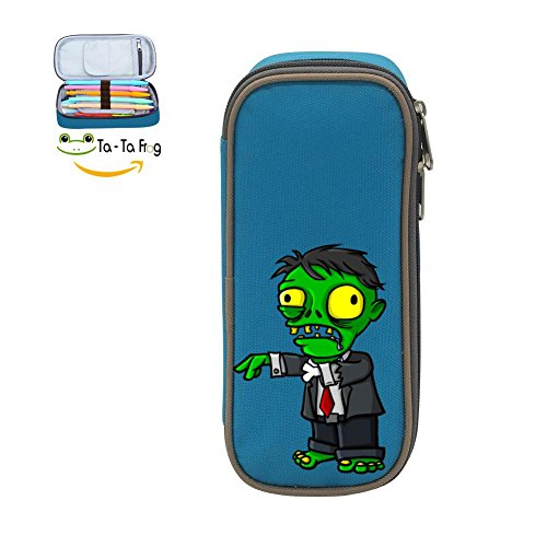 Halloween Green Zombie Want to Eat Brain Pen Bag Canvas Pencil Case Big Capacity Pen Bag Makeup Pouch Durable Students Stationery With Double (Simple Halloween Makeup Tumblr)