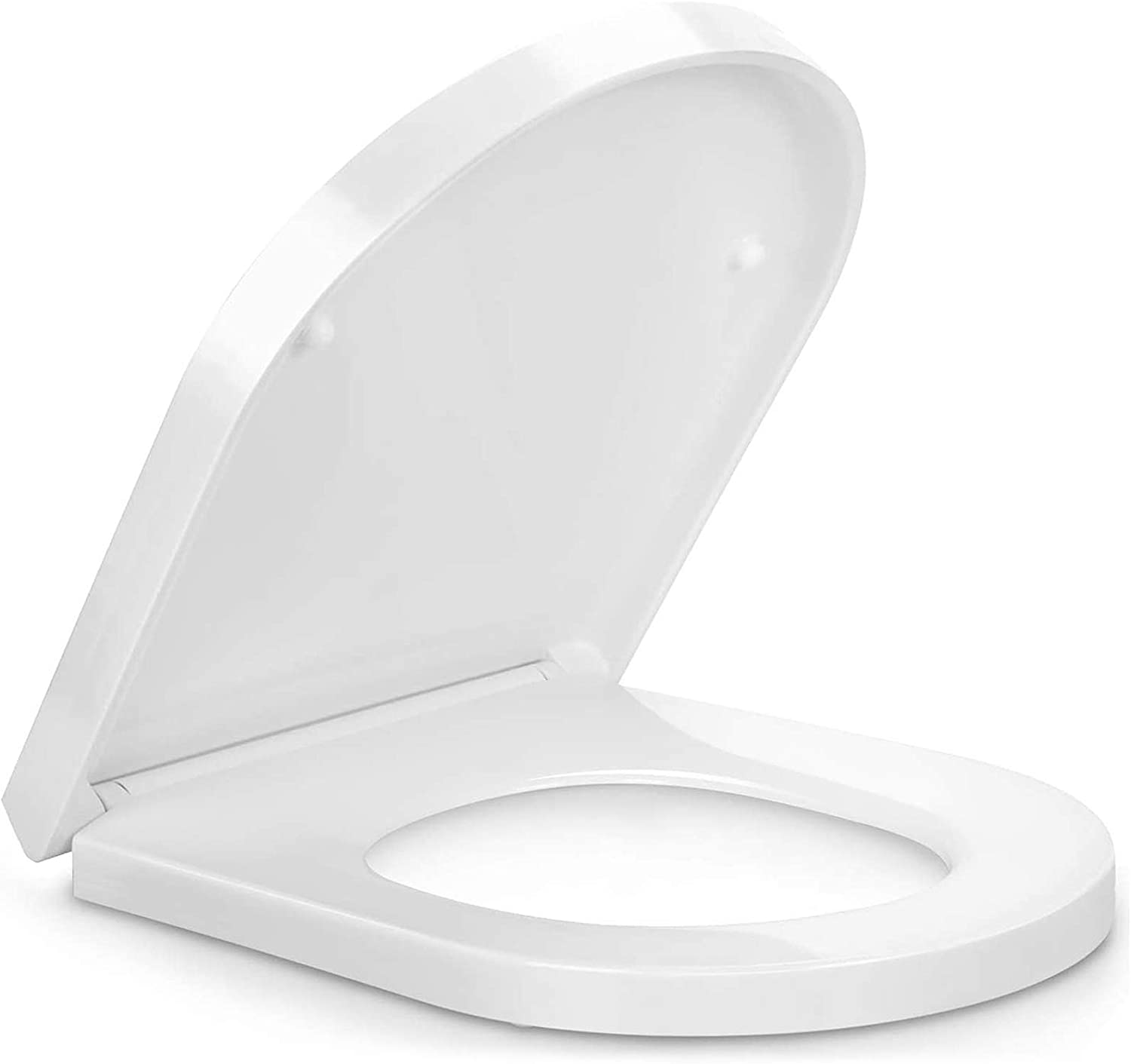 Soft Close Toilet Seat with Quick Release, Simple Top Fixing, Heavy Duty UF Material Anti-Bacterial Toilet Seats White with Adjustable Stainless Hinges, D Shape/U Shape Toilet Lid Loo Seat