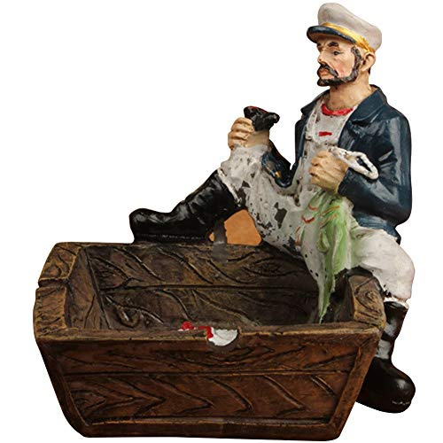 YamaziHD Mediterranean Style Nautical Captain and Sailor Theme Ashtray Ornaments Table Ashtray Cigar Ash Tray Home Decoration Décor Crafts Gifts (Captain/Fish)