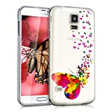 kwmobile Crystal TPU Silicone Case for Samsung Galaxy S5 / S5 Neo / S5 LTE+ / S5 Duos in Design butterflies bevy multicolor dark pink transparent