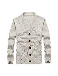 Pervobs Men's Autumn Casual Loose Long Sleeve Button-Down Knit Sweatshirt T-Shirt