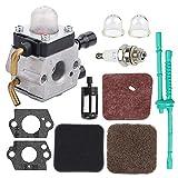 Harbot C1Q-S97 C1Q-S186 Carburetor for STIHL FS38 FS45 FS46 FS55 KM55 HL45 FS45L FS45C FS46C FS55C FS55R FS55RC FS80 FS80R FS85 FS85R FS85RX Trimmer Weed Eater with Air Filter Fuel Line Kit