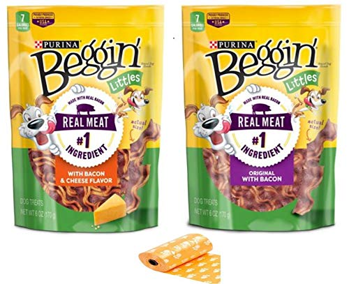 Purina Beggin' Littles 2 Flavor Bundle - Bacon & Cheese Flavor and Original with Bacon, 6 Oz Bag Each - Plus Eco Friendly Poop Bags and Weatherproof Animal Sticker (4 Items Total)