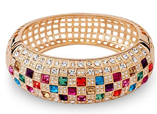 Most Beloved Multicolor Austrian Crystals Cuff Bracelet Rose Gold Plated Filigree Bangle Women Statement Austrian Crystal Bangle Cuff Watch