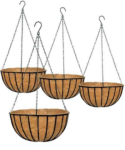 Set of 4 Gardman Hanging Planters with Liners, Black, 16