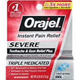 Orajel maximum strength instant pain relief for severe toothache, cooling gel - 0.25 oz