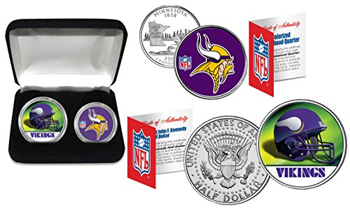 MINNESOTA VIKINGS Officially Licensed NFL 2-COIN US SET w/ Deluxe Display (Color Team Mint Coin)
