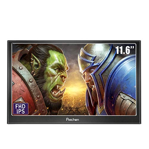 Prechen,Portable HDMI Monitor 11.6 inch 1920x1080HDMI VGA Gaming Monitor for PS3 PS4 WiiU Xbox360 Raspberry Pi 3 2 1 Windows 7 8 10 System Home Office,Build in Speaker