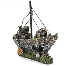 WINOMO Resin Fishing Boat Aquarium Ornament Plastic Decoration for Fish Tank Accessories