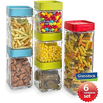 Amazon Com Dry Food Jars 4 Piece Set Glass Containers With Date