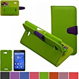 Sony Xperia E4g Case,Mama Mouth [DETACHABLE Feature] Flip Hard Case [Stand View] PU Leather [Wallet Case] With Card Slots Cover For Sony Xperia E4g E2053, Green