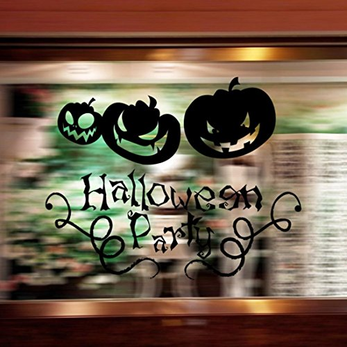 Wall Sticker ,Art Sticker Home Décor Usstore 1PC Vinyl Removable Halloween Smiling Pumpkin Decals Decoration For Bedroom living bathroom House Office Windows Decor (Black)