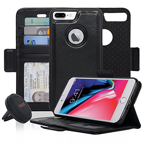 Navor Detachable Magnetic Wallet Case and Universal Car Mount Compatible for iPhone 8 Plus [RFID Protection] [Vajio Series]-Black