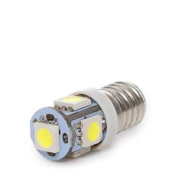 Greenice | Bombilla de LEDs E10 12VDC 1W 5 X SMD5050 | Blanco Frío
