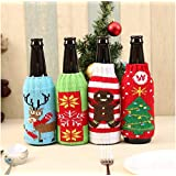 AstiVita Christmas Beer Bottle Stubby/Sleeve/Insulator/Keeps Beer Cold/Hands Warm/Cooler Sweater Set - Pack of 4