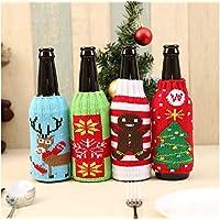 AstiVita Christmas Beer Bottle Stubby/Sleeve/Insulator/Keeps Beer Cold/Hands Warm/Cooler Sweater Set - Pack of 4