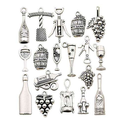 WOCRAFT 50pcs Craft Supplies Antique Silver Tasting Wine Grape Cocktail Glass Wine Opener Charms for Jewelry Making Findings Crafting Accessory for DIY Necklace Bracelet -
