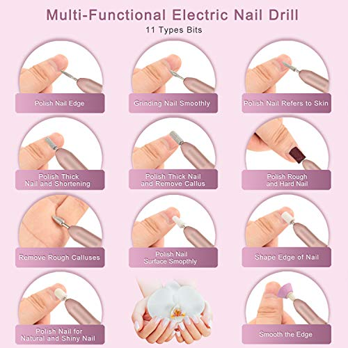 Directtyteam Directtyteam Electric Nail Drill Kit, USB Powered Manicure Grinding Pen Polisher With 6 Pieces Changeable Drills for Exfoliating, Grinding, Polishing, Nail Removing, Acrylic Nail Tools