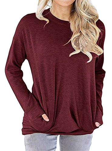 RJXDLT Women's Casual Long Sleeve Round Neck Sweatshirt Loose Soft with Pockets Pullover Blouse Tops Shirt Tunics Wine Red - Sleeve Sweatshirt Cotton Long
