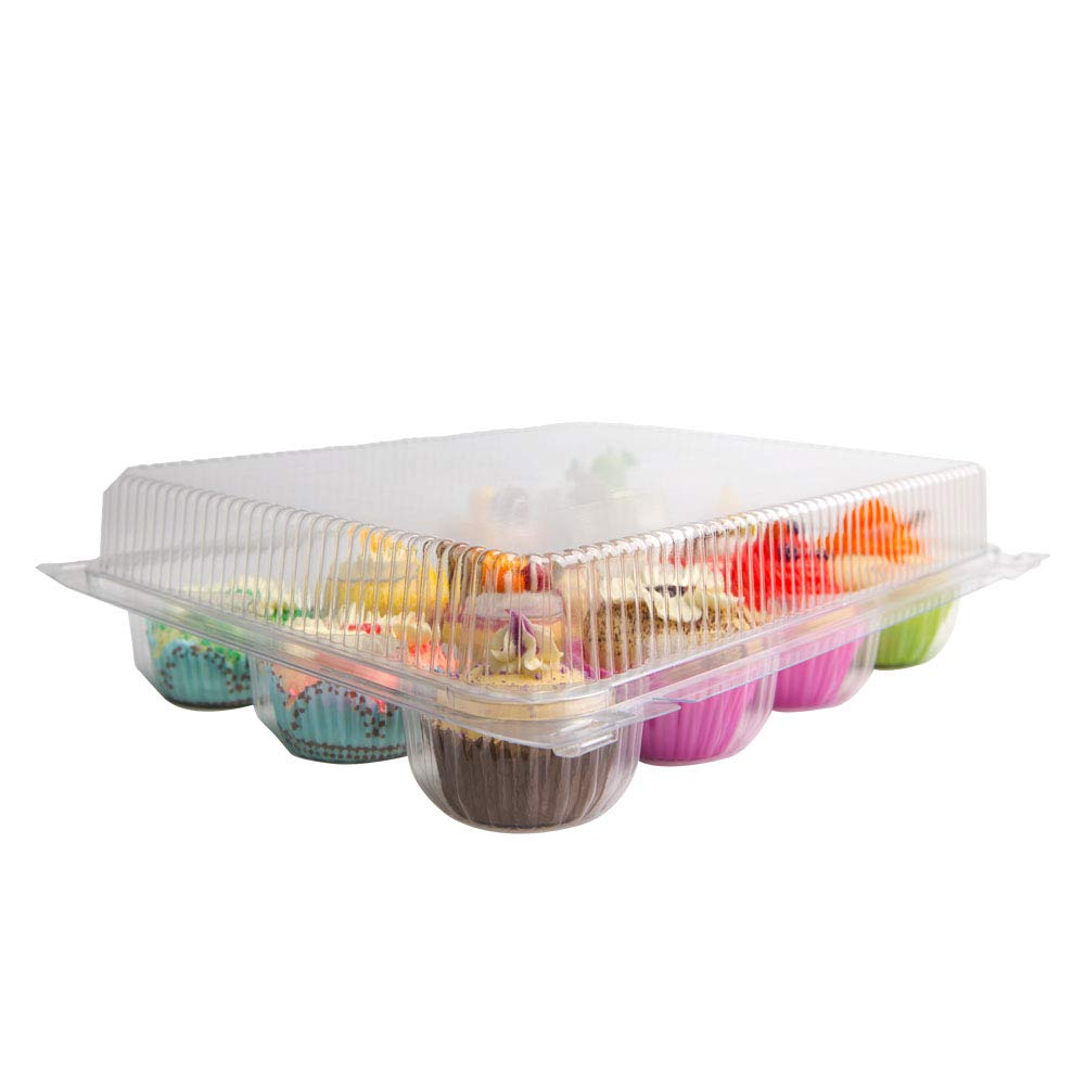 sweet.life ClearPlastic 12 Cupcake Container Box Takeout Muffin Carrier Disposable 12 Compartment 4 Pack Regular size