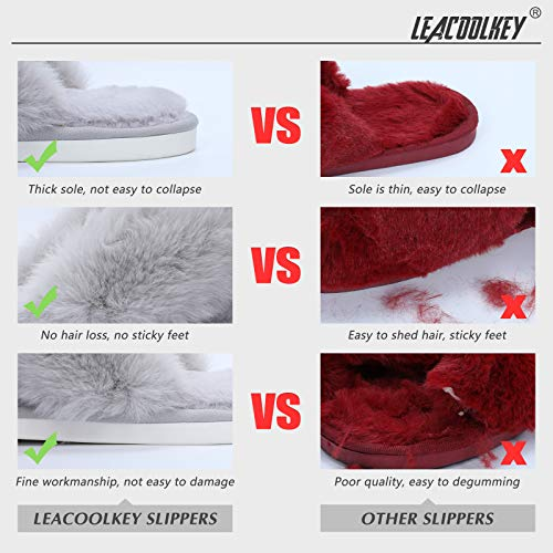 LEACOOLKEY Women Cross Band Slippers, Soft Plush Fleece Slippers, Furry Cozy Open Toe House Shoes, Indoor Outdoor Faux Rabbit FurComfy Slippers