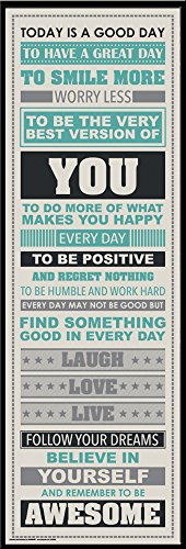 Be Awesome Inspirational Motivational Happiness Quotes Decorative Framed Poster Print 12 By 36
