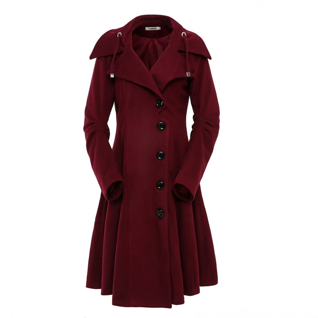 ForeMode Women's Jacket with Button Closure Asymmetrical Hem Long Trench Black Cloak Wool Coat,Tawny Port,Large