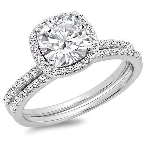 Dazzlingrock Collection 14K Gold Cushion Created White Sapphire & Round White Diamond Bridal Halo Engagement Ring Set