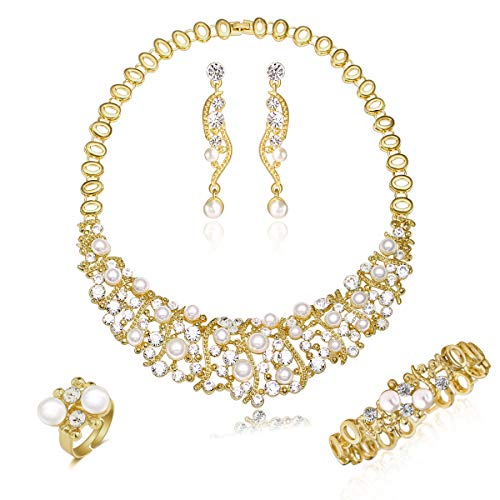 (Gold Plated Luxury Crystal and Simulated-Pearl Beads Necklaces Jewelry Set 5 Pieces)