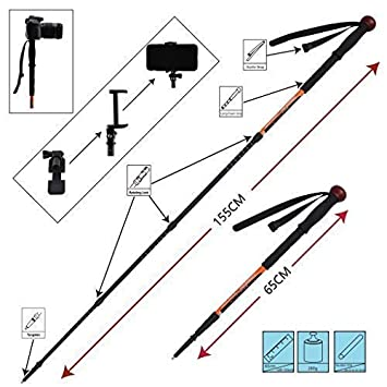 Trekking Pole Telescopic Walking Stick Hunting Integrated Camera Mount Smart Phones Holder Rifle Rest Shooting Support Yoke Attached 4 Sections Rotating Lock 25-61 inches 1 pole pack