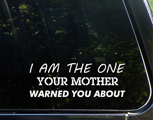"I Am The One Your Mother Warned You About - 8-3/4"" x 3-1/4"" - Vinyl Die Cut Decal/ Bumper Sticker For Windows, Cars, Trucks, Laptops, Etc."