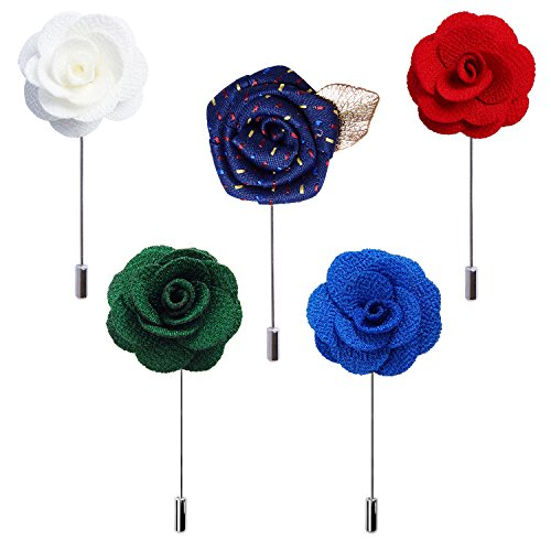 RareLove 3pcs Wedding Rose Boutonniere Lapel Pins Set for Men Flower White Red Blue (Green 5pcs) by RareLove